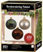 170 stuks kerstballen mix parel groen mahonie voor 210 cm boom trend
