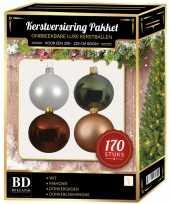 170 stuks kerstballen mix wit beige bruin groen voor 210 cm boom trend