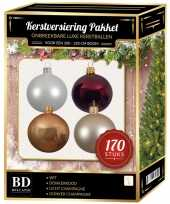 170 stuks kerstballen mix wit beige donkerrood voor 210 cm boom trend