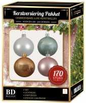 170 stuks kerstballen mix wit beige mint roze voor 210 cm boom trend