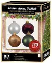 170 stuks kerstballen mix wit beige rood groen voor 210 cm boom trend