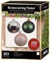 170 stuks kerstballen mix zilver groen roze voor 210 cm boom trend