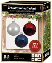 171 stuks kerstballen mix wit blauw rood voor 210 cm boom trend