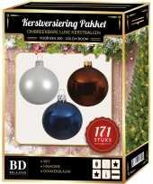 171 stuks kerstballen mix wit bruin donkerblauw voor 210 cm boom trend