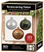171 stuks kerstballen mix wit champagne groen voor 210 cm boom trend