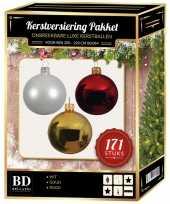 171 stuks kerstballen mix wit goud rood voor 210 cm boom trend