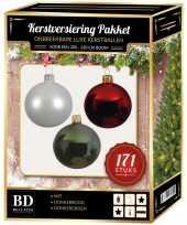 171 stuks kerstballen mix wit groen donkerrood voor 210 cm boom trend