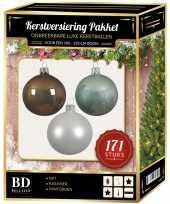 171 stuks kerstballen mix wit mint bruin voor 210 cm boom trend