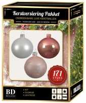 171 stuks kerstballen mix wit oudroze lichtroze voor 210 cm boom trend