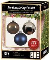 171 stuks kerstballen mix zilver blauw bruin voor 210 cm boom trend