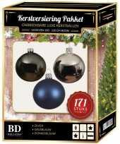171 stuks kerstballen mix zilver grijs blauw voor 210 cm bo trend