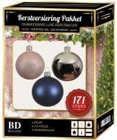 171 stuks kerstballen mix zilver roze donkerblauw voor 210 cm bo trend