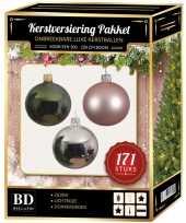 171 stuks kerstballen mix zilver roze donkergroen voor 210 cm bo trend
