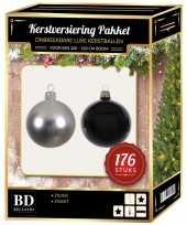 176 stuks kerstballen mix zilver zwart voor 210 cm boom trend