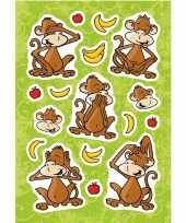 17x aap apen dieren stickers met 3d effect met zacht kunststof trend