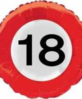 18 jaar thema verkeersbord folie ballon trend