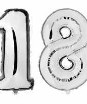 18 jaar zilveren folie ballonnen 88 cm leeftijd cijfer trend
