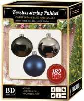 182 stuks kerstballen mix zilver grijs donkerblauw voor 210 cm b trend