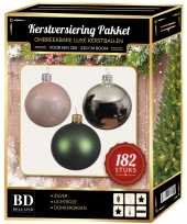182 stuks kerstballen mix zilver roze donkergroen voor 210 cm bo trend
