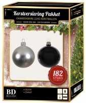 182 stuks kerstballen mix zilver zwart voor 210 cm boom trend