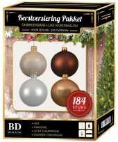 184 stuks kerstballen mix champagne wit bruin voor 210 cm boom trend