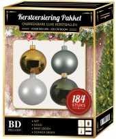 184 stuks kerstballen mix wit mint goud groen voor 210 cm boom trend