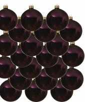 18x aubergine paarse glazen kerstballen 6 cm glans trend