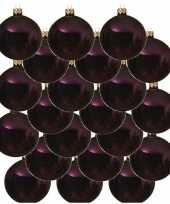 18x aubergine paarse glazen kerstballen 8 cm glans trend