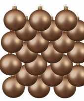 18x donker parel champagne glazen kerstballen 6 cm mat trend