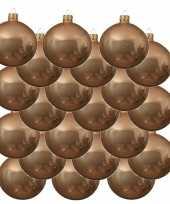 18x donker parel champagne glazen kerstballen 8 cm glans trend