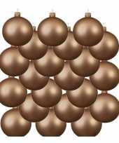 18x donker parel champagne glazen kerstballen 8 cm mat trend