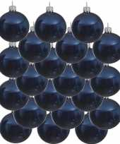 18x donkerblauwe glazen kerstballen 6 cm glans trend