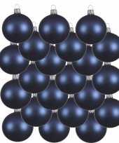 18x donkerblauwe glazen kerstballen 6 cm mat trend