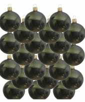 18x donkergroene glazen kerstballen 8 cm glans trend