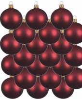 18x donkerrode glazen kerstballen 6 cm mat trend