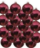 18x fuchsia roze glazen kerstballen 6 cm glans trend