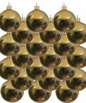 18x gouden glazen kerstballen 8 cm glans trend