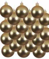 18x gouden glazen kerstballen 8 cm mat trend