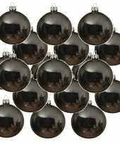 18x grijsblauwe glazen kerstballen 6 cm glans trend