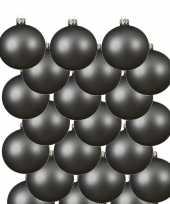 18x grijsblauwe glazen kerstballen 6 cm mat trend