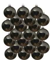 18x grijsblauwe glazen kerstballen 8 cm glans trend