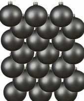 18x grijsblauwe glazen kerstballen 8 cm mat trend