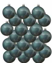 18x ijsblauwe glazen kerstballen 8 cm glans trend