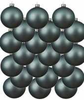 18x ijsblauwe glazen kerstballen 8 cm mat trend