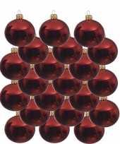 18x kerst rode glazen kerstballen 8 cm glans trend