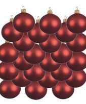 18x kerst rode glazen kerstballen 8 cm mat trend