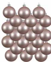 18x lichtroze glazen kerstballen 8 cm mat trend