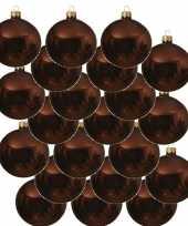 18x mahonie bruine glazen kerstballen 6 cm glans trend