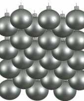 18x mintgroene glazen kerstballen 8 cm mat trend