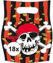 18x piraten themafeest feestzakjes uitdeelzakjes jolly roger trend